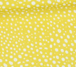 Leichter Baumwollstoff - Punktemeer - Punkte - Maisgelb/Weiß
