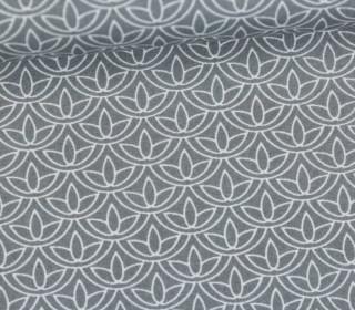 Leichter Baumwollstoff - Blütenmuster - Grau/Weiß
