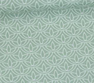 Leichter Baumwollstoff - Blütenmuster - Lichtgrün/Weiß