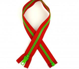 1 Reißverschluss - 40cm - Teilbar - Bicolor - Hochwertig - Prym - Rot/Hellgrün