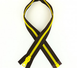 1 Reißverschluss - 40cm - Teilbar - Bicolor - Hochwertig - Prym - Braun/Gelb