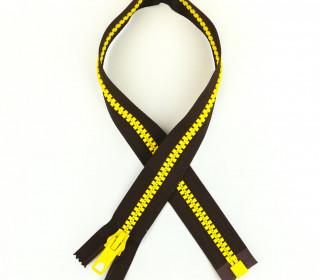 1 Reißverschluss - 60cm - Teilbar - Bicolor - Hochwertig - Prym - Braun/Gelb