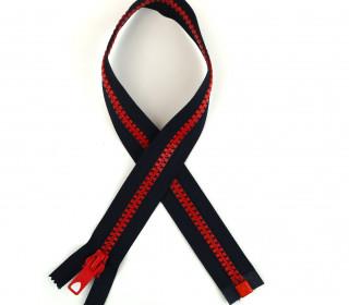1 Reißverschluss - 60cm - Teilbar - Bicolor - Hochwertig - Prym - Dunkelblau/Rot