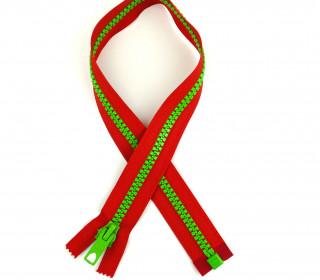 1 Reißverschluss - 60cm - Teilbar - Bicolor - Hochwertig - Prym - Rot/Hellgrün