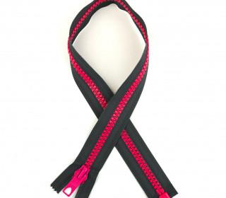 1 Reißverschluss - 60cm - Teilbar - Bicolor - Hochwertig - Prym - Grau/Pink