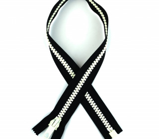 1 Reißverschluss - 60cm - Teilbar - Bicolor - Hochwertig - Prym - Schwarz/Weiß