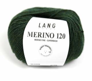 Strickgarn - LANGYARNS MERINO - 120m - 100% Schurwolle - No Mulesing - Tannengrün Meliert (34.0398)