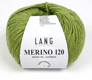 Strickgarn - LANGYARNS MERINO - 120m - 100% Schurwolle - No Mulesing - Olivgrün Meliert (34.0297)
