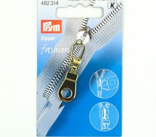 1 Zipper Anhänger - Metall - Hochwertig - Prym - Öse - Gold