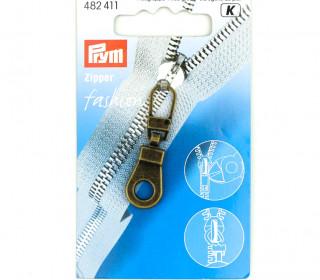 1 Zipper Anhänger - Metall - Hochwertig - Prym - Öse - Altmessing