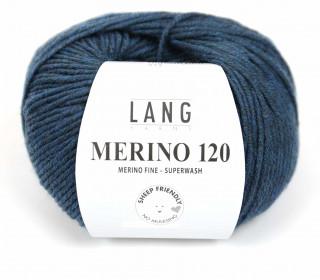 Strickgarn - LANGYARNS MERINO - 120m - 100% Schurwolle - No Mulesing - Grünblau Dunkel Meliert (34.0233)
