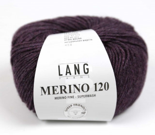 Strickgarn - LANGYARNS MERINO - 120m - 100% Schurwolle - No Mulesing - Dunkellila Meliert (34.0480)