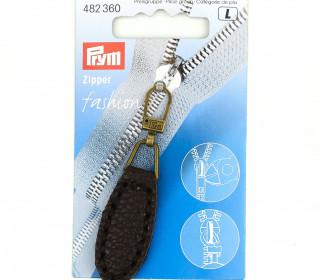 1 Zipper Anhänger - Kunstleder - Hochwertig - Prym - Oval - Dunkelbraun