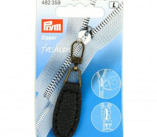 1 Zipper Anhänger - Kunstleder - Hochwertig - Prym - Oval - Schwarz