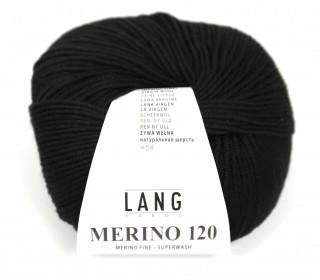 Strickgarn - LANGYARNS MERINO - 120m - 100% Schurwolle - No Mulesing - Schwarz (34.0004)