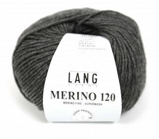 Strickgarn - LANGYARNS MERINO - 120m - 100% Schurwolle - No Mulesing - Dunkelgrau Meliert (34.0270)