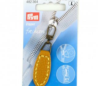 1 Zipper Anhänger - Kunstleder - Hochwertig - Prym - Oval - Senfgelb