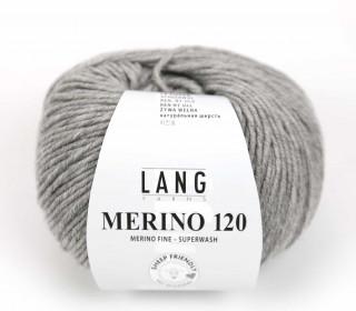 Strickgarn - LANGYARNS MERINO - 120m - 100% Schurwolle - No Mulesing - Grau Meliert (34.0324)