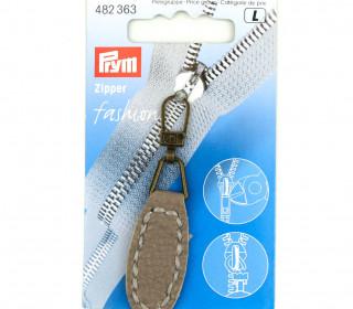 1 Zipper Anhänger - Kunstleder - Hochwertig - Prym - Oval - Taupe