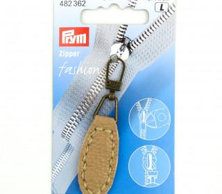 1 Zipper Anhänger - Kunstleder - Hochwertig - Prym - Oval - Beige