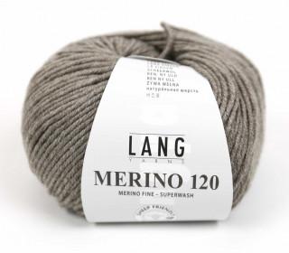 Strickgarn - LANGYARNS MERINO - 120m - 100% Schurwolle - No Mulesing - Graubraun Meliert (34.0326)
