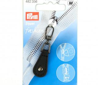 1 Zipper Anhänger - Kunstleder - Hochwertig - Prym - Oval - Niete - Silber/Schwarz
