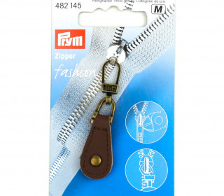 1 Zipper Anhänger - Kunstleder - Hochwertig - Prym - Oval - Niete - Altmessing/Braun