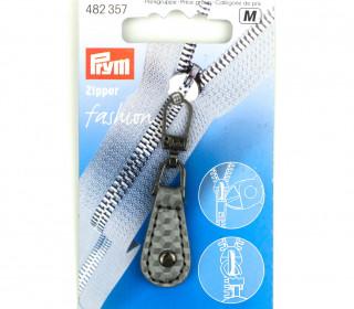 1 Zipper Anhänger - Kunstleder - Hochwertig - Prym - Oval - Niete - Silber/Grau