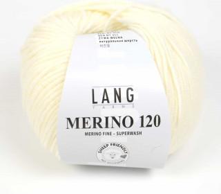 Strickgarn - LANGYARNS MERINO - 120m - 100% Schurwolle - No Mulesing - Cremeweiß (34.0002)