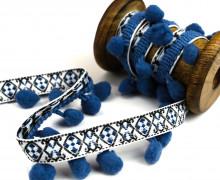 1 Meter Bommelborte mit Zierband - Bommeln - Pomponborte - Ornamente - Blau