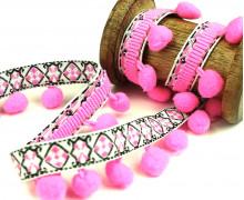 1 Meter Bommelborte mit Zierband - Bommeln - Pomponborte - Ornamente - Pink