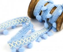 1 Meter Bommelborte mit Zierband - Bommeln - Pomponborte - Zick Zack - Stickerei - Hellblau