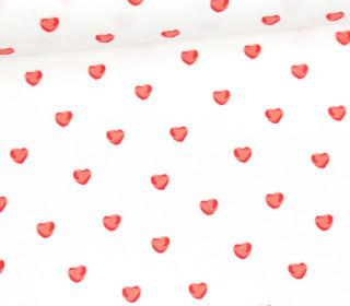 Baumwollstoff - Kleine Herzen - Sweet Hearts - Weiß
