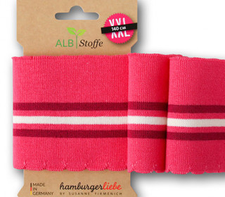 Bio-Bündchen - Wave - Wellenrand - 3 Stripes - Weekender - Multi - Cuff Me - Hamburger Liebe - Magenta
