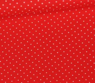 Leichter Baumwollstoff - Pünktchen - Daisy - Rot/Weiß