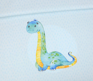 Jersey - Bio Qualität - Paneel - Lovely Little Dinosaur - Hellblau - abby and me