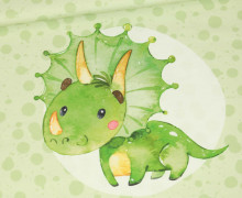Jersey - Bio Qualität - Paneel - Lovely Little Dinosaur - Hellgruen - abby and me