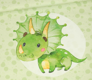 Jersey - Bio Qualität - Paneel - Lovely Little Dinosaur - Hellgruen - abby and me