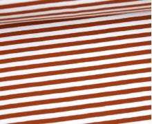 Jersey - Streifen - Rostbraun/Weiß