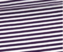 Jersey - Streifen - Dunkellila/Weiß