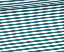 Jersey - Streifen - Petrol/Weiß