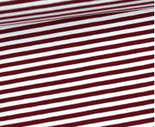 Jersey - Streifen - Weinrot/Weiß