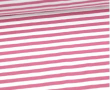 Jersey - Streifen - Altrosa/Weiß