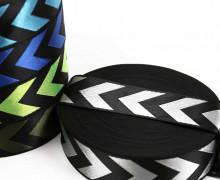 1m Gurtband - Deco - Pfeile - Glanz - 40mm - Schwarz/Silber