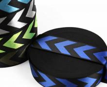 1m Gurtband - Deco - Pfeile - Glanz - 40mm - Schwarz/Blau