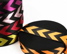 1m Gurtband - Deco - Pfeile - Glanz - 40mm - Schwarz/Orange