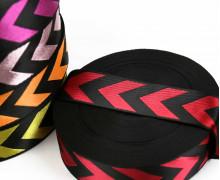 1m Gurtband - Deco - Pfeile - Glanz - 40mm - Schwarz/Rot