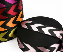 1m Gurtband - Deco - Pfeile - Glanz - 40mm - Schwarz/Rosa