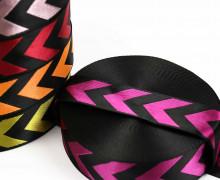 1m Gurtband - Deco - Pfeile - Glanz - 40mm - Schwarz/Pink