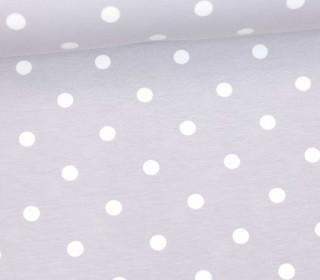 Jersey - Punkte - Groß - Hellgrau/Weiß